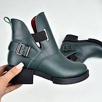 Ботинки Hermes, Натуральная кожа, цвет - ИЗУМРУД, внутри байка