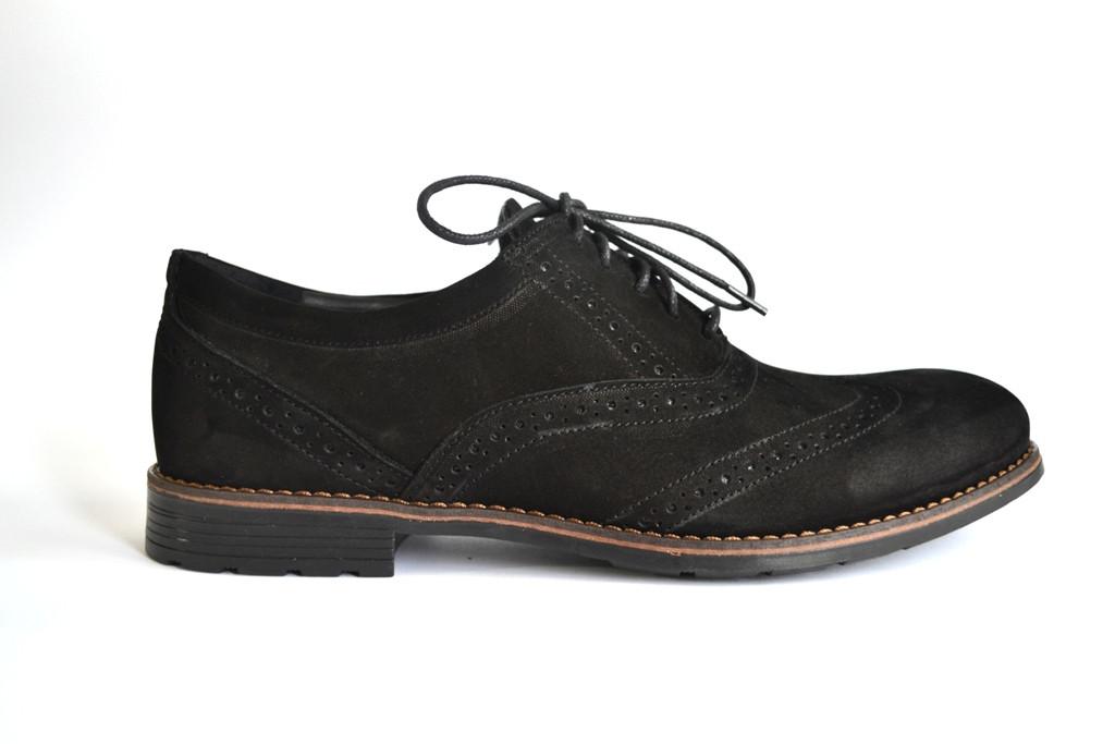 Туфли мужские нубук черные броги обувь Rosso Avangard Felicete Persona Vel