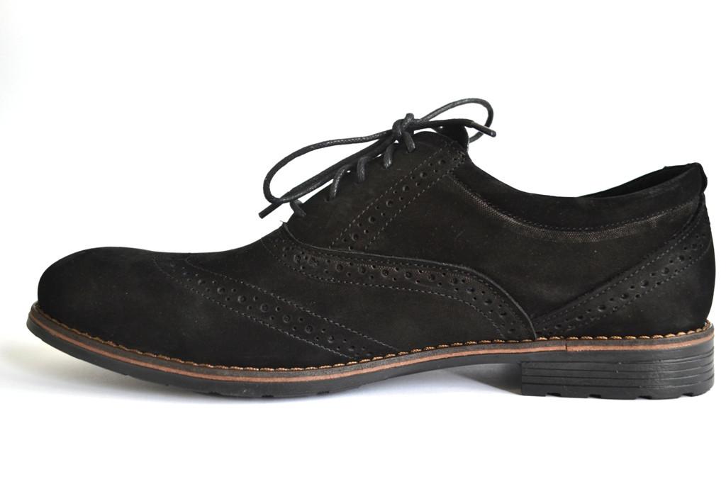 Туфлі броги нубук чоловіче взуття великих розмірів Rosso Avangard BS Felicete Persona Vel чорні