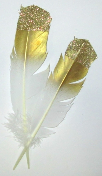 Перо декоративное 31 см, Золото