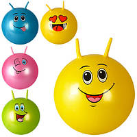 Мяч для фитнеса MS 0740, с рожками, 55 см, смайл, одностикерный, 600г, 5 видов, в кульке, 21-17-4 см