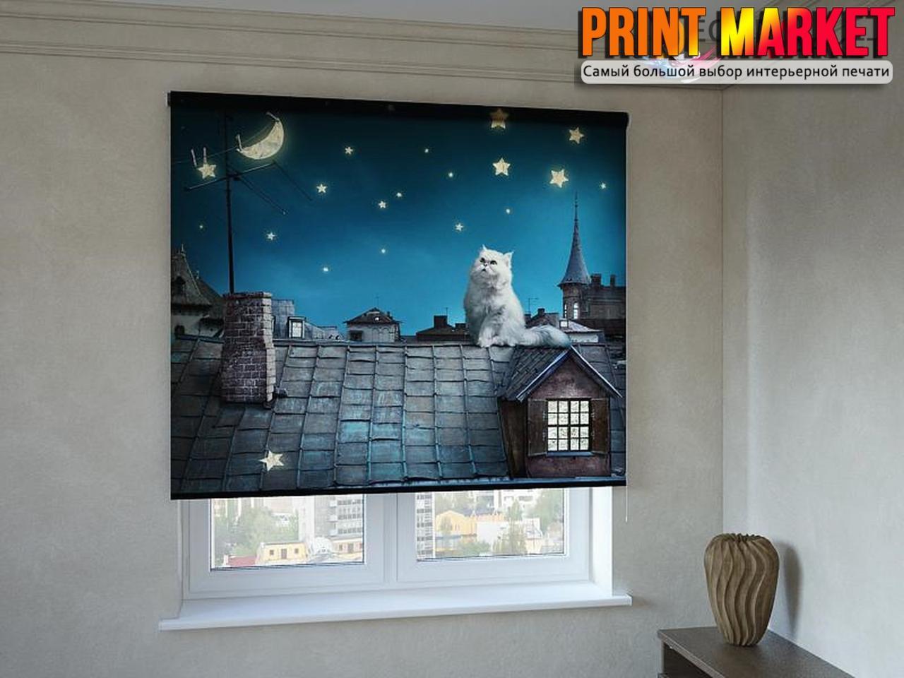 Рулонные шторы с фотопечатью кот на крыше