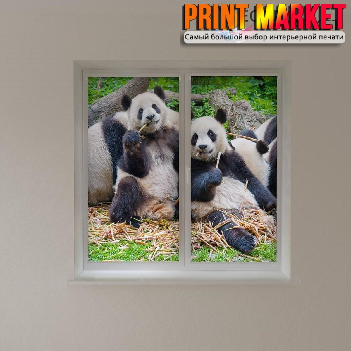 Рулонные шторы с фотопечатью панды 3д