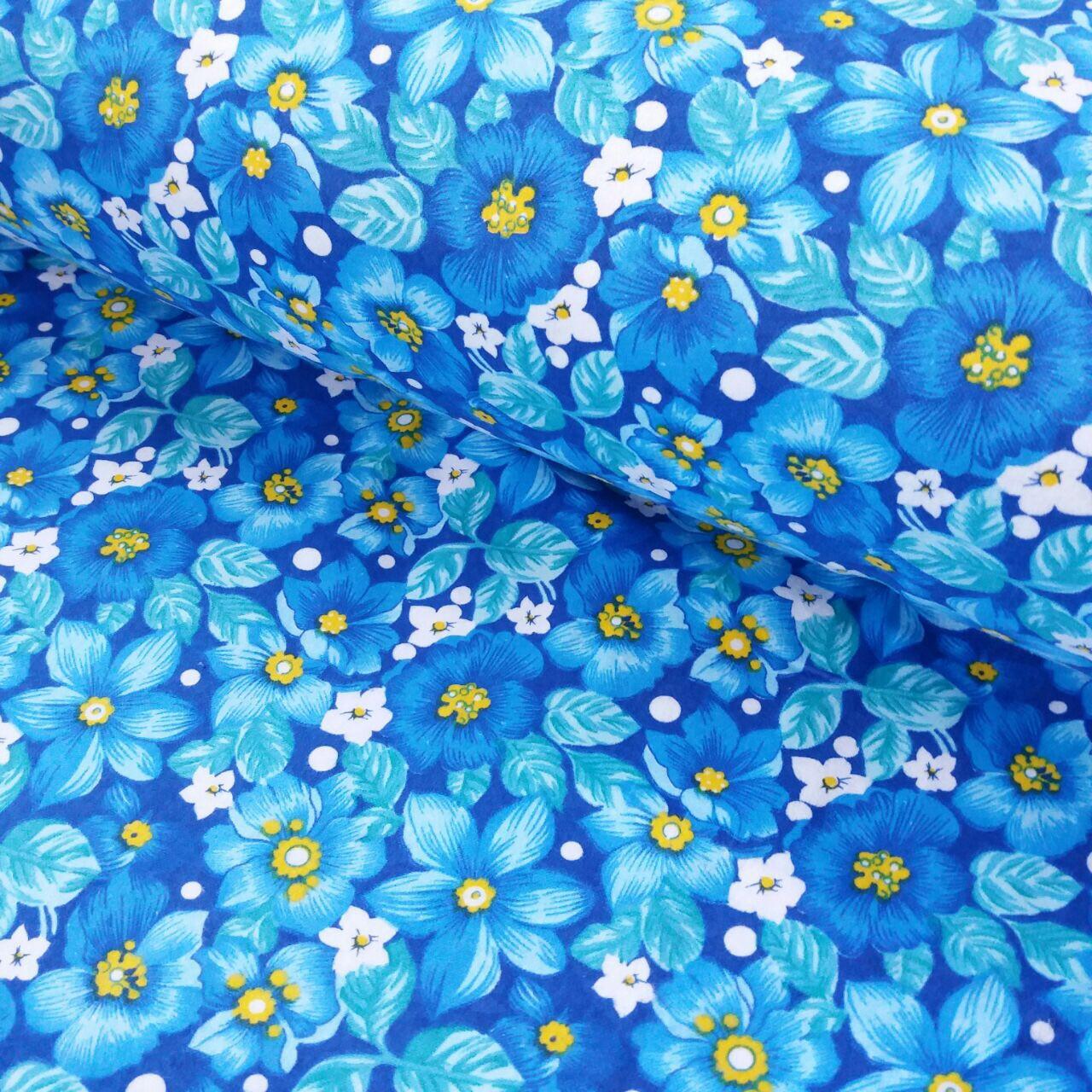 ФЛанель хлопок для халатов с цветами на синем ширина 150 см
