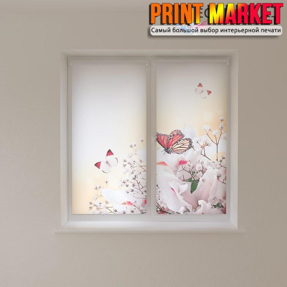 Рулонные шторы с фотопечатью цветные бабочки