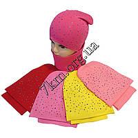 """Набор детский шапка с хомутом для девочек """"Блестки"""" 4-9 лет двойной трикотаж Оптом"""