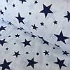 Фланель (байка)  с темно-синими звездами на белом фоне, ширина 220 см