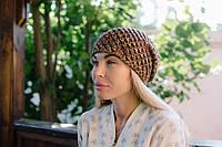 Вязаная теплая осенняя шапка на флисе