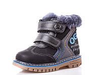 Зимние ботинки для мальчиков. 1655C Black (12/6пар, 22-27)