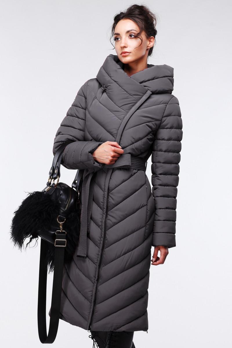 Стеганое длинное пальто приталенного кроя Фелиция, 44-60, наличие размера уточняйте