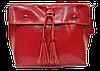 Женская сумка из натуральной кожи красного цвета с кисточками IGF-201969