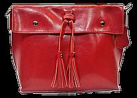 Женская сумка из натуральной кожи красного цвета с кисточками IGF-201969, фото 1