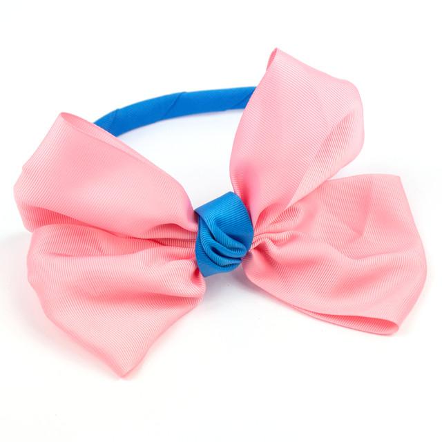 Обруч для волос с большим бантом Розовый-Голубой