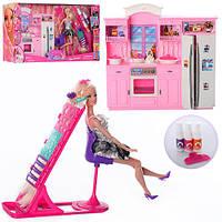Мебель 66871  кухня,кукла 29см,шарнир,дочка10см,трафарет,краска для волос,в кор,67-34-11см