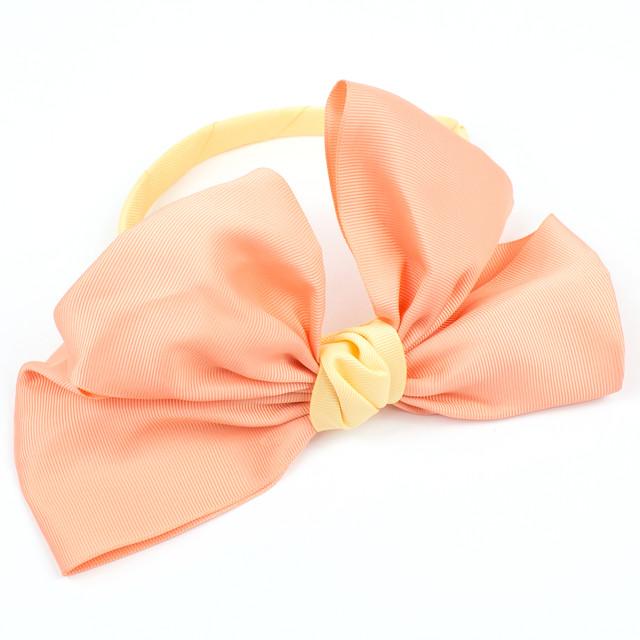 Обруч для волос с большим бантом Оранжевый-Желтый