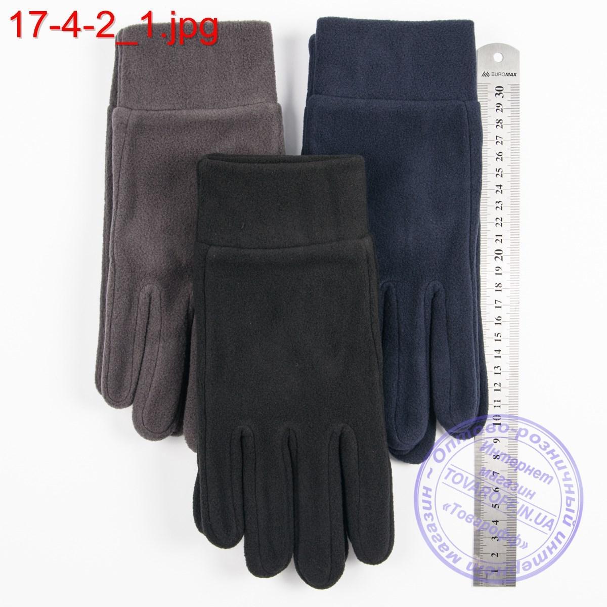 Оптом мужские флисовые перчатки без подкладки - №17-4-2