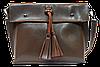 Женская сумка из натуральной кожи цвета хаки с кисточками IGF-201981