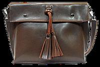 Женская сумка из натуральной кожи цвета хаки с кисточками IGF-201981, фото 1