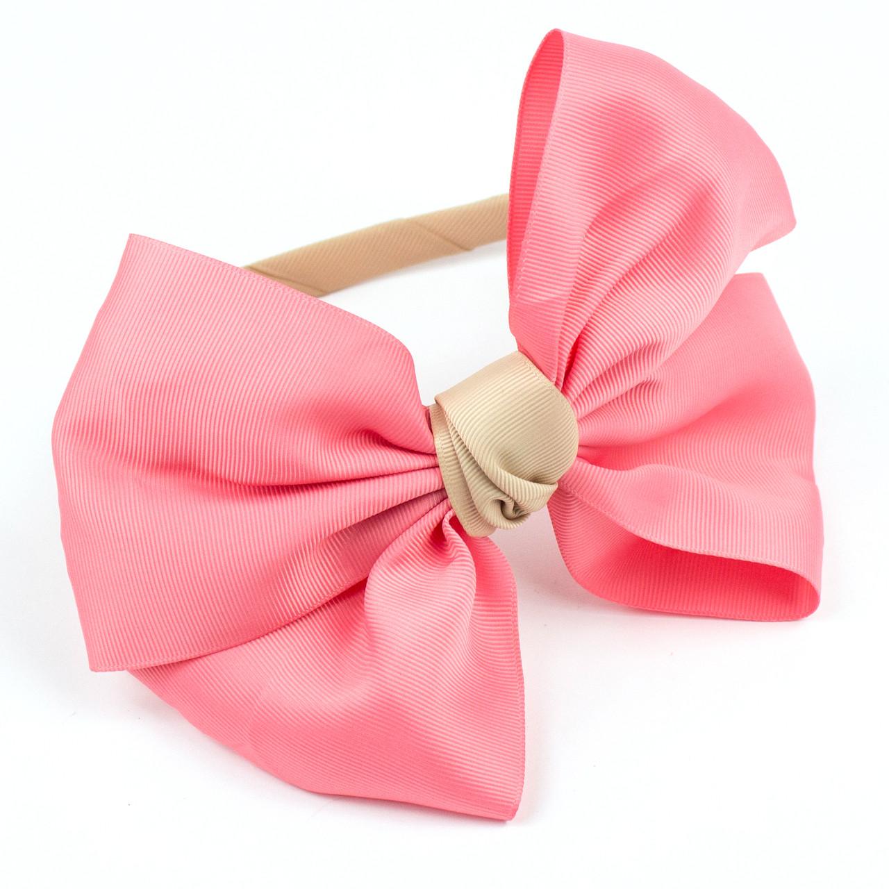 Обруч для волос с большим бантом Розовый-Бежевый