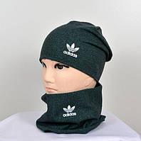 """Комплект """"мулине зеленый"""" (шапка+хомут) adidas"""