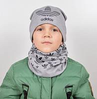 Трикотажный комплект Adidas (шапка+хомут) серый+черный