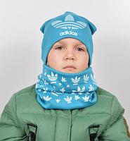 Трикотажный комплект Adidas (шапка+хомут) бирюза+белый