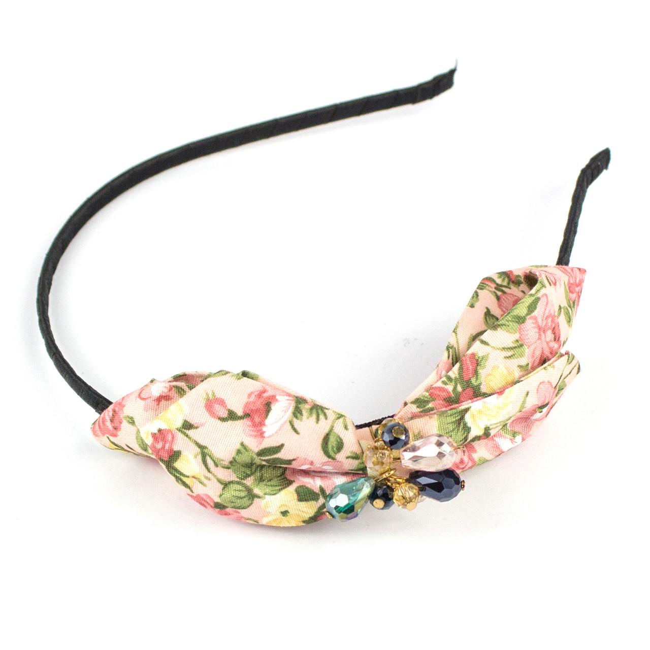 Обруч для волос с хлопковым цветочным бантом и бусинами Floral
