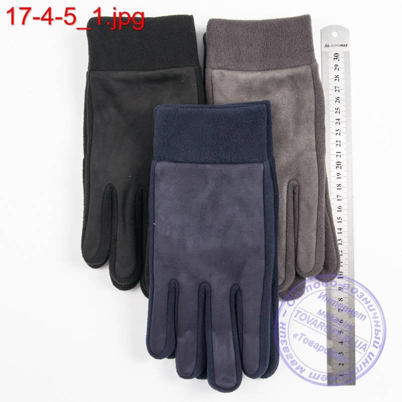 Оптом мужские флисовые перчатки без подкладки - №17-4-5, фото 2