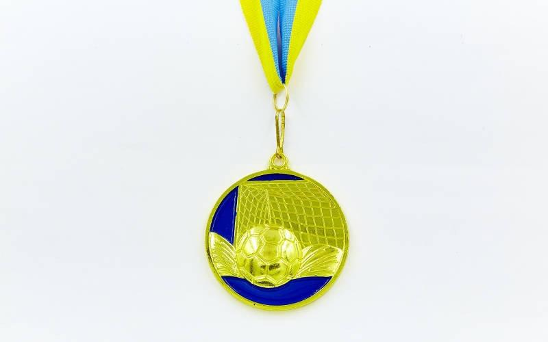Медаль спортивная с лентой Футбол d-6,5см. Распродажа! Оптом и в розницу!