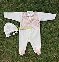 Крестильный набор для новорожденного (человечек+шапочка) Сеньор 3