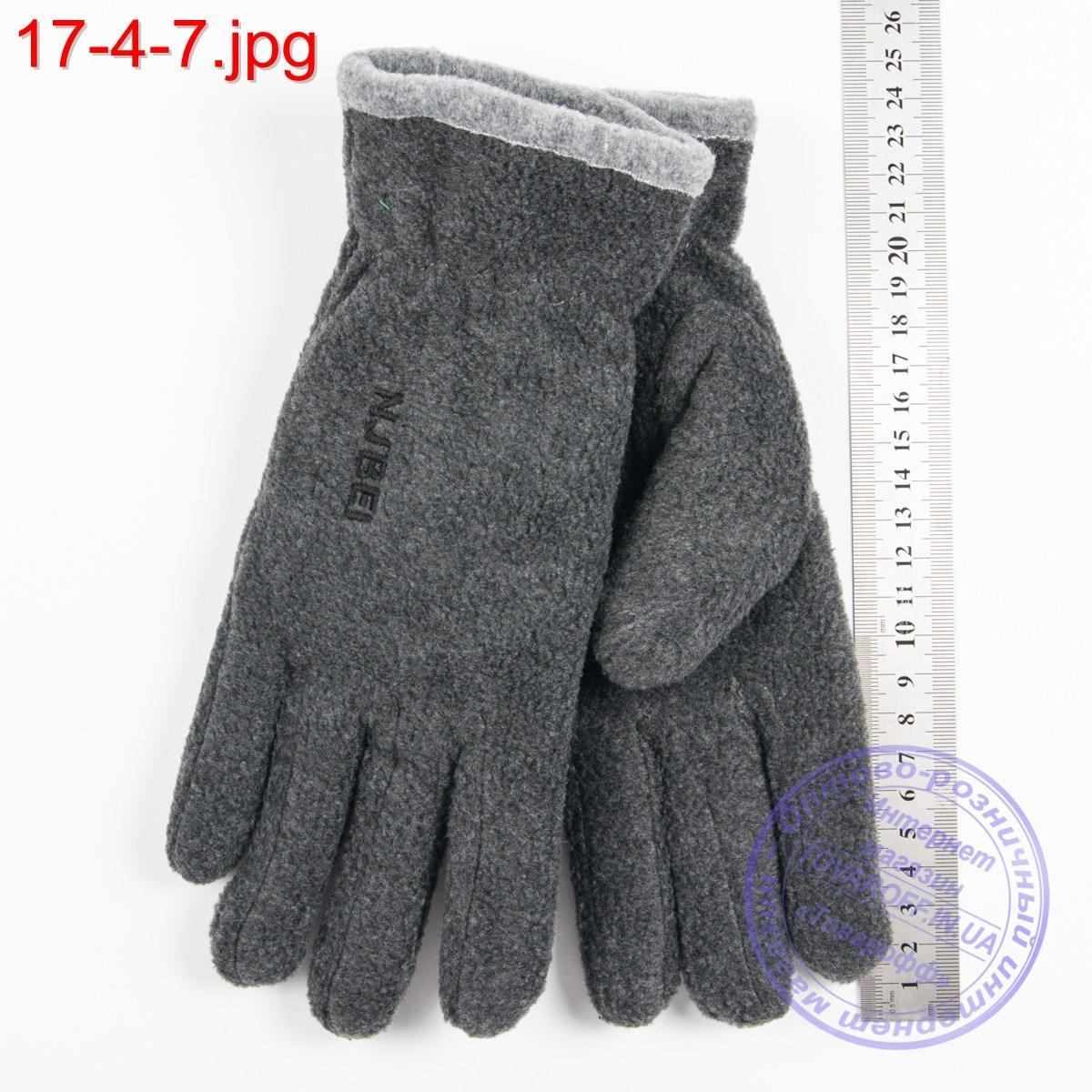 Оптом двойные мужские флисовые перчатки серые - №17-4-7