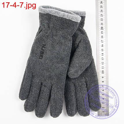 Оптом двойные мужские флисовые перчатки серые - №17-4-7, фото 2