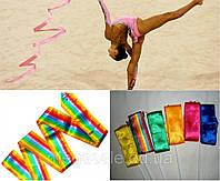 Стрічка гімнастична з паличкою і карабіном: довжина 6м, 5 кольорів