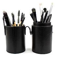 Набор из 18 кистей для макияжа в тубе Beauties Factory Makeup Brushes Black Leather Brush Stand (The Bat), фото 1