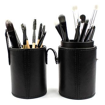 Набор из 18 кистей для макияжа в тубе Beauties Factory Makeup Brushes Black Leather Brush Stand (The Bat)
