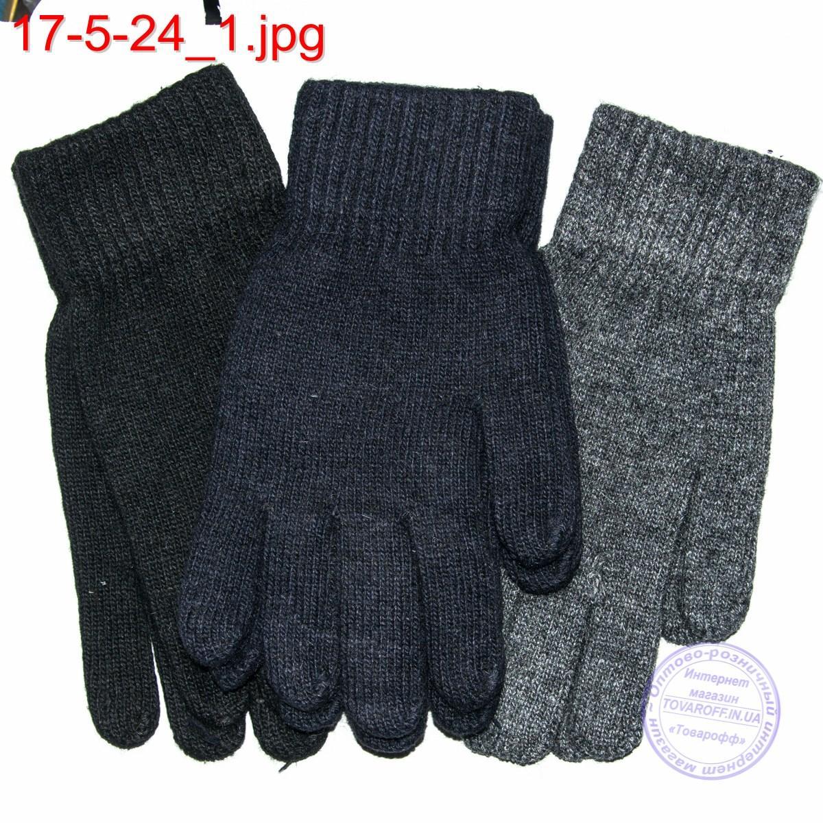 Оптом двойные ангоровые мужские перчатки - №17-5-24