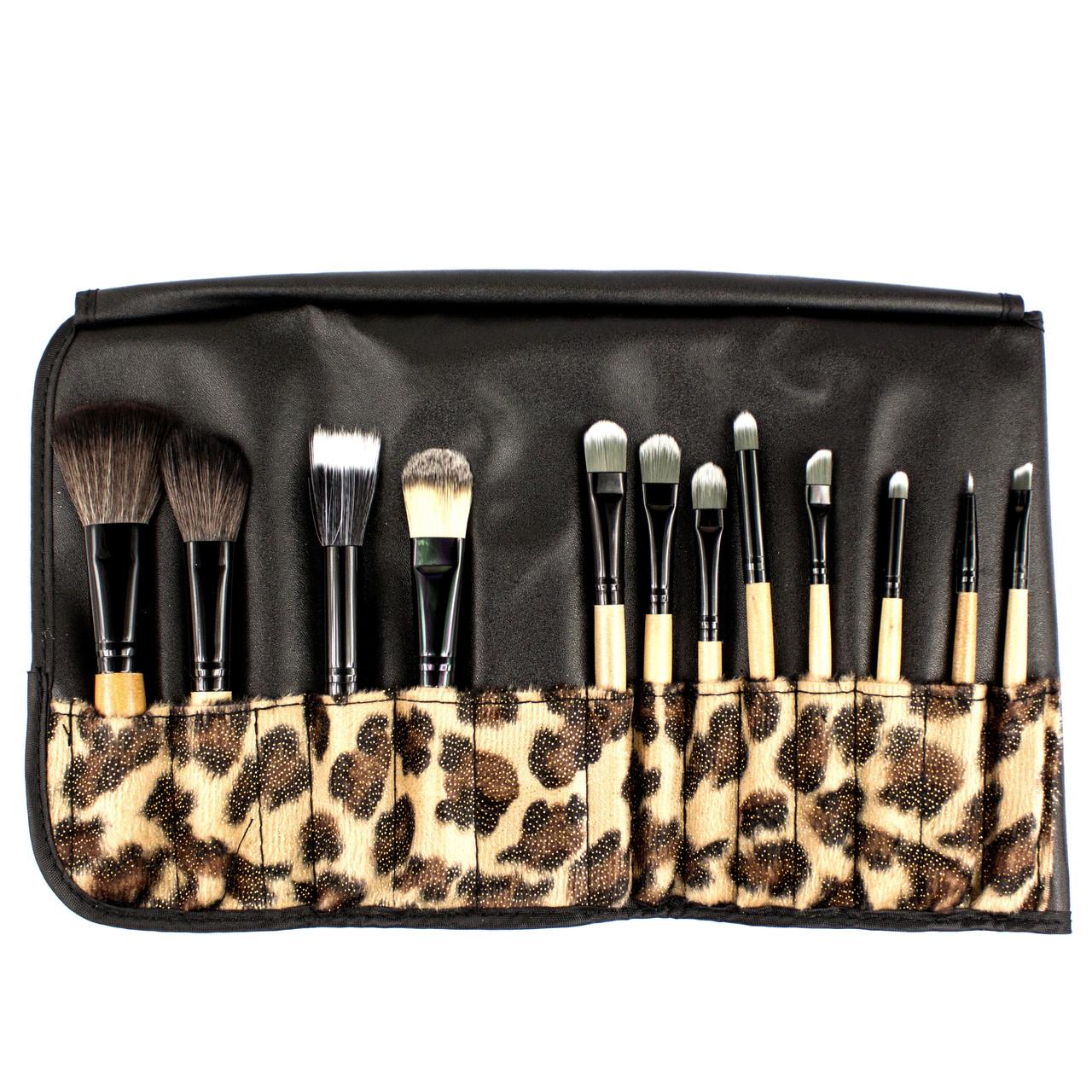 Набор из 12 кистей для макияжа в леопардовом чехле Beauties Factory Makeup Brush Set (African Leopard)