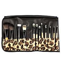 Набор из 12 кистей для макияжа в леопардовом чехле Beauties Factory Makeup Brush Set (African Leopard), фото 1