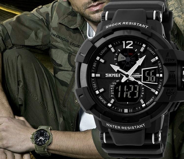 Армійські захищені годинник skmei 1040 чорні
