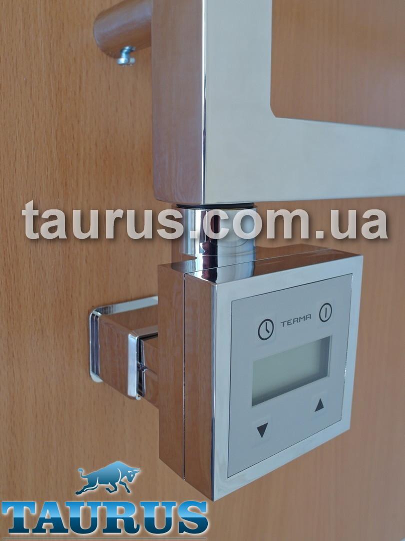 Квадратный электроТЭН KTX3 MS chrome: LCD экран, маскировка провода + регулятор 30C-60С + таймер 24 ч., Польша