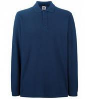 Мужская рубашка поло с длинным рукавом темно синяя 310-32