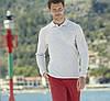 Чоловіча сорочка поло з довгим рукавом світло сіра 310-94, фото 3