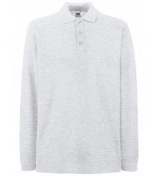 Чоловіча сорочка поло з довгим рукавом світло сіра 310-94