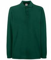 Мужская рубашка поло с длинным рукавом зеленая 310-ТМ