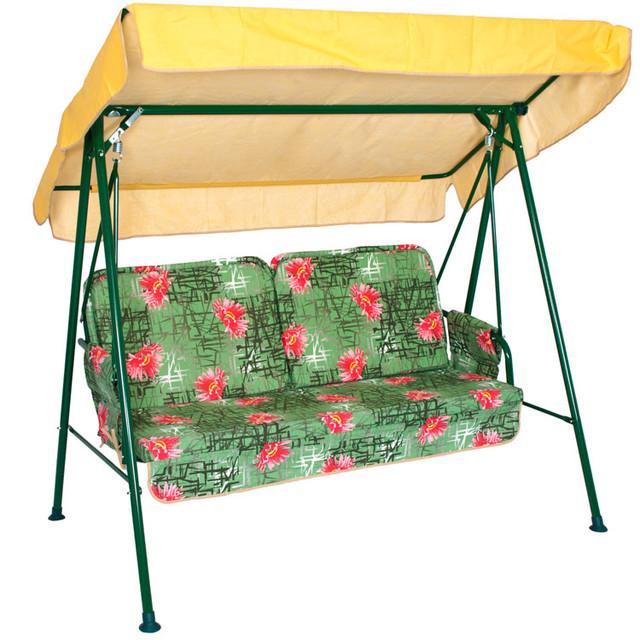 Диван-качеля Hippy нераскладная. Основа сидения - металлическая сетка. Наклон крыши регулируется.