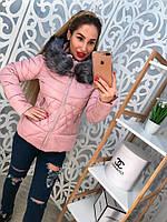 Демисезонная розовая куртка с мехом.