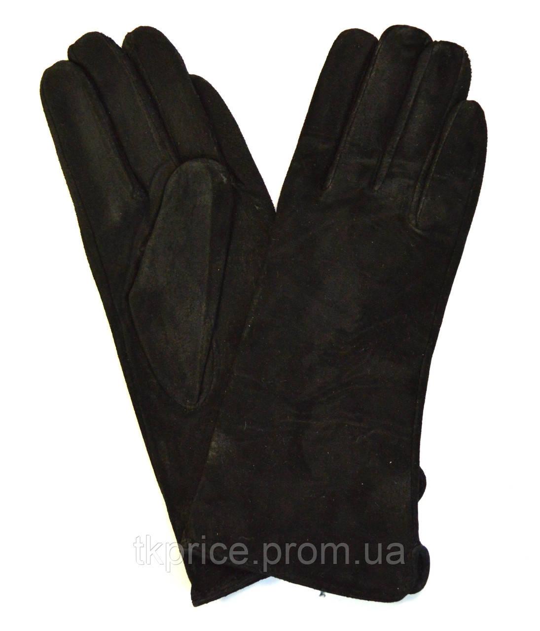 Женские замшевые перчатки на шерстяной подкладке
