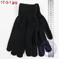 Вязаные мужские перчатки с начесом - №17-3-1