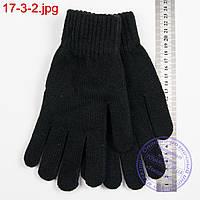 Вязаные женские перчатки с начесом - №17-3-2