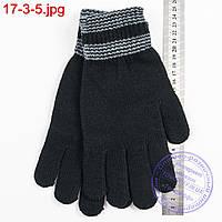 Вязаные мужские перчатки с начесом - №17-3-5